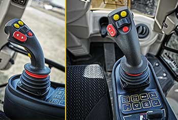 Hydrema 900F series backhoe loader joystick used to operate the machine